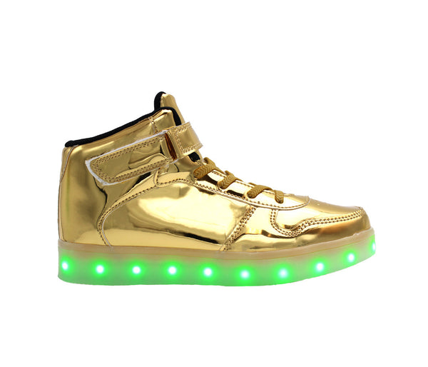 Gold High top  LED light up shoes. Simillar to  Air force ones for adults. Like Nike high top LED shoes.