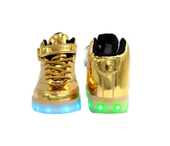 High Top Shine (Gold) - LED SHOE SOURCE,  Shoes - Fashion LED Shoes USB Charging light up Sneakers Adults Unisex Men women kids Casual Shoes High Quality