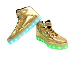 Kids High Top Shine (Gold) - LED SHOE SOURCE,  Shoes - Fashion LED Shoes USB Charging light up Sneakers Adults Unisex Men women kids Casual Shoes High Quality