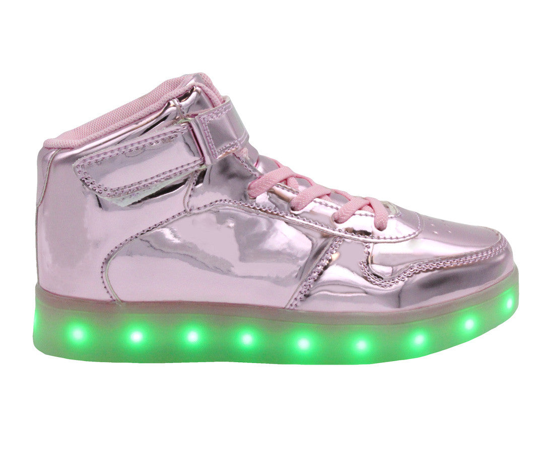 High Top Shine (Pink) - LED SHOE SOURCE,  Shoes - Fashion LED Shoes USB Charging light up Sneakers Adults Unisex Men women kids Casual Shoes High Quality