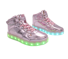 Pink High top  kids LED light up shoes. Simillar to  Air force ones for adults. Like Nike high top LED shoes.