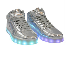 High Top Shine (Silver) - LED SHOE SOURCE,  Shoes - Fashion LED Shoes USB Charging light up Sneakers Adults Unisex Men women kids Casual Shoes High Quality