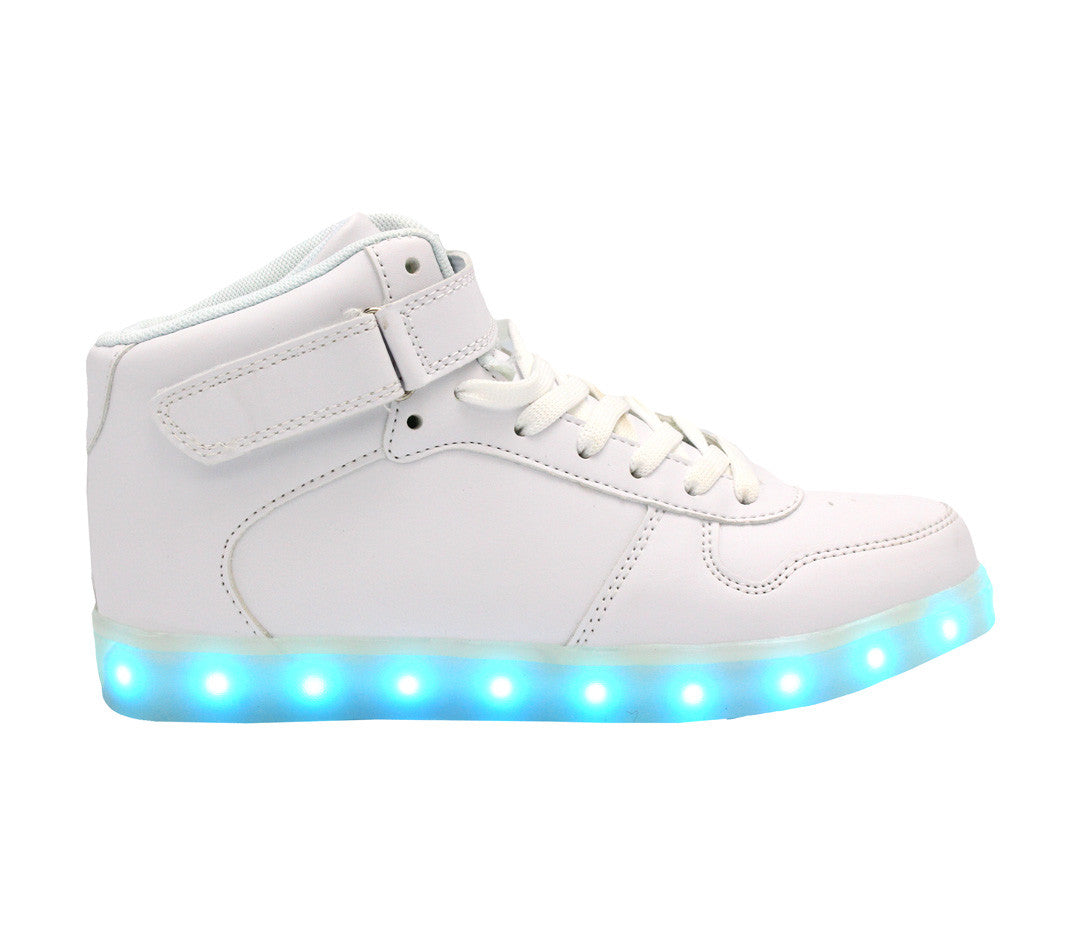 High Top Casual (White) - LED SHOE SOURCE,  Shoes - Fashion LED Shoes USB Charging light up Sneakers Adults Unisex Men women kids Casual Shoes High Quality