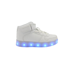 Kids High Top Casual (White) - LED SHOE SOURCE,  Shoes - Fashion LED Shoes USB Charging light up Sneakers Adults Unisex Men women kids Casual Shoes High Quality
