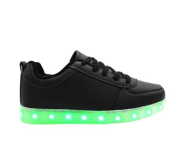 Black low top Led light up shoes. Simillar to air force ones nike. 7 different light up colors, great for EDM parties.