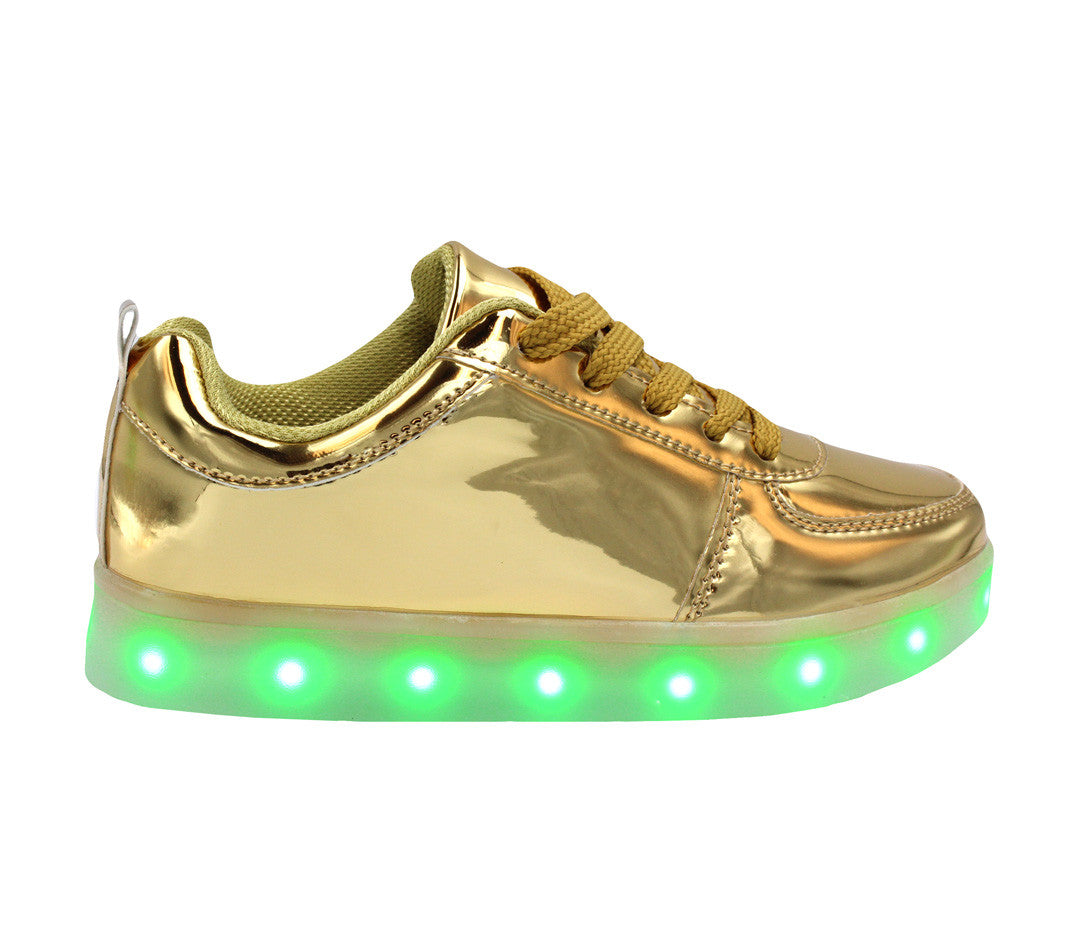 Low Top Shine (Gold) - LED SHOE SOURCE,  Shoes - Fashion LED Shoes USB Charging light up Sneakers Adults Unisex Men women kids Casual Shoes High Quality