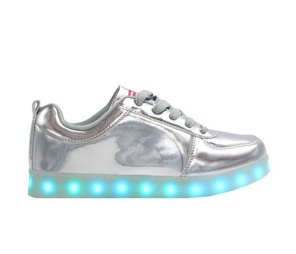 Low Top Shine (Silver) - LED SHOE SOURCE,  Shoes - Fashion LED Shoes USB Charging light up Sneakers Adults Unisex Men women kids Casual Shoes High Quality