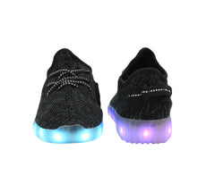 Kids Sport Knit (Black) - LED SHOE SOURCE,  Shoes - Fashion LED Shoes USB Charging light up Sneakers Adults Unisex Men women kids Casual Shoes High Quality