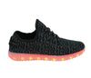 Black yeezy LED light up shoes. Knit runners with LED lights for EDM party.