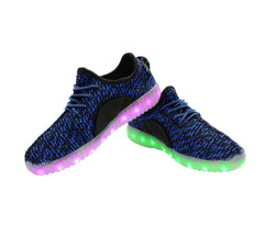 Sport Knit (Blue & Black) - LED SHOE SOURCE,  Shoes - Fashion LED Shoes USB Charging light up Sneakers Adults Unisex Men women kids Casual Shoes High Quality
