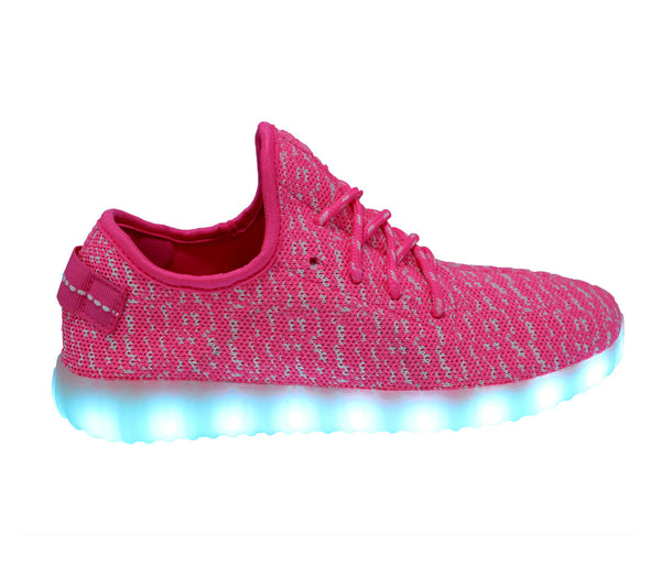 Pink  yeezy LED light up shoes. These knit sneakers glow in 7 colors and are great for parties.