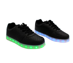 Low Top Fashion Walker (Black) - LED SHOE SOURCE,  Shoes - Fashion LED Shoes USB Charging light up Sneakers Adults Unisex Men women kids Casual Shoes High Quality