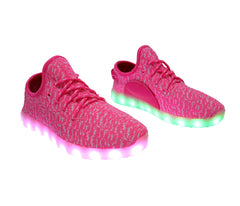 Sport Knit App Control (Pink) - LED SHOE SOURCE,  Shoes - Fashion LED Shoes USB Charging light up Sneakers Adults Unisex Men women kids Casual Shoes High Quality
