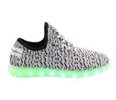 Sport Knit App Control (White & Grey) - LED SHOE SOURCE,  Shoes - Fashion LED Shoes USB Charging light up Sneakers Adults Unisex Men women kids Casual Shoes High Quality
