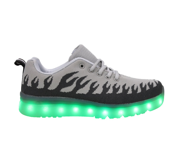 Grey flames LED light up shoes. Beautiful LED shoes for adults and kids.