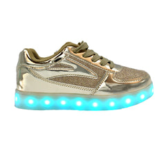Kids and womens  shiny Gold LED light up shoes. The sneakers light up with 7 colors.Kids shiny Gold LED light up shoes. The sneakers light up with 7 colors.