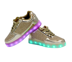 Kids Low Top Fusion (Gold) - LED SHOE SOURCE,  Shoes - Fashion LED Shoes USB Charging light up Sneakers Adults Unisex Men women kids Casual Shoes High Quality
