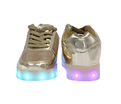 Kids shiny Gold LED light up shoes. The sneakers light up with 7 colors.