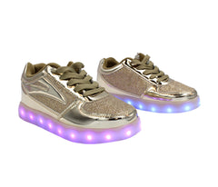 Low Top Fusion (Gold) - LED SHOE SOURCE,  Shoes - Fashion LED Shoes USB Charging light up Sneakers Adults Unisex Men women kids Casual Shoes High Quality