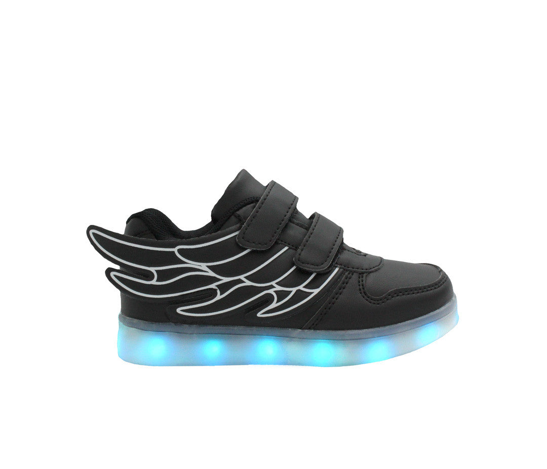 Black low top wings LED shoes for kids. These light up shoes are loved by all kids.