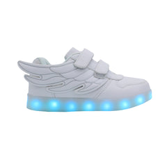 Kids Low Top Wing Walker (White) - LED SHOE SOURCE,  Shoes - Fashion LED Shoes USB Charging light up Sneakers Adults Unisex Men women kids Casual Shoes High Quality