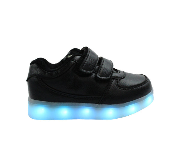 Kids black low top LED light up shoes, great for parties and night adventures.