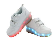 Kids Low Top Wing Roller (White) - LED SHOE SOURCE,  Shoes - Fashion LED Shoes USB Charging light up Sneakers Adults Unisex Men women kids Casual Shoes High Quality