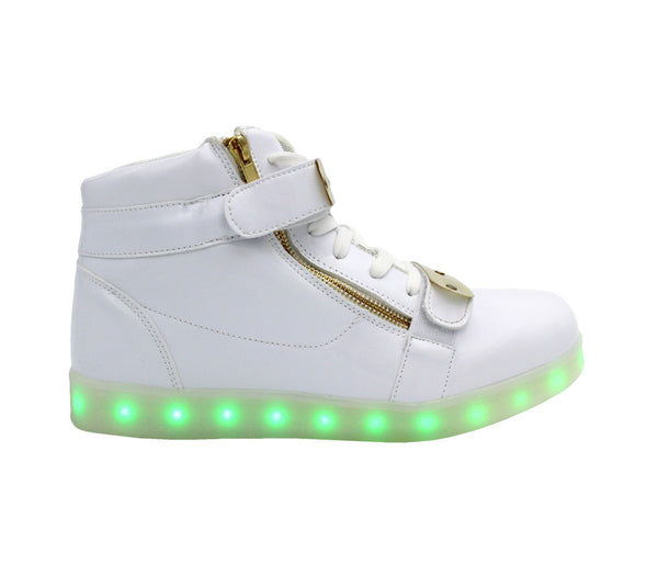High Top Shine Lux (White) - LED SHOE SOURCE,  Shoes - Fashion LED Shoes USB Charging light up Sneakers Adults Unisex Men women kids Casual Shoes High Quality