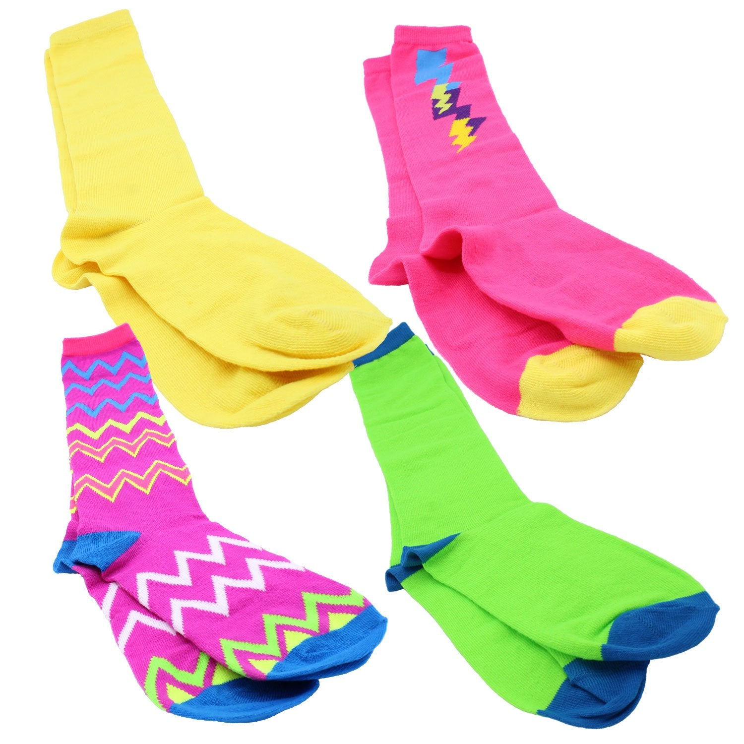 Neon Pattern Socks 4-Pack