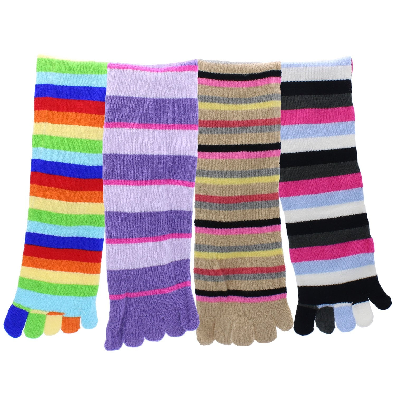 Toe Socks 4-Pack Multicolor Striped - Pack6