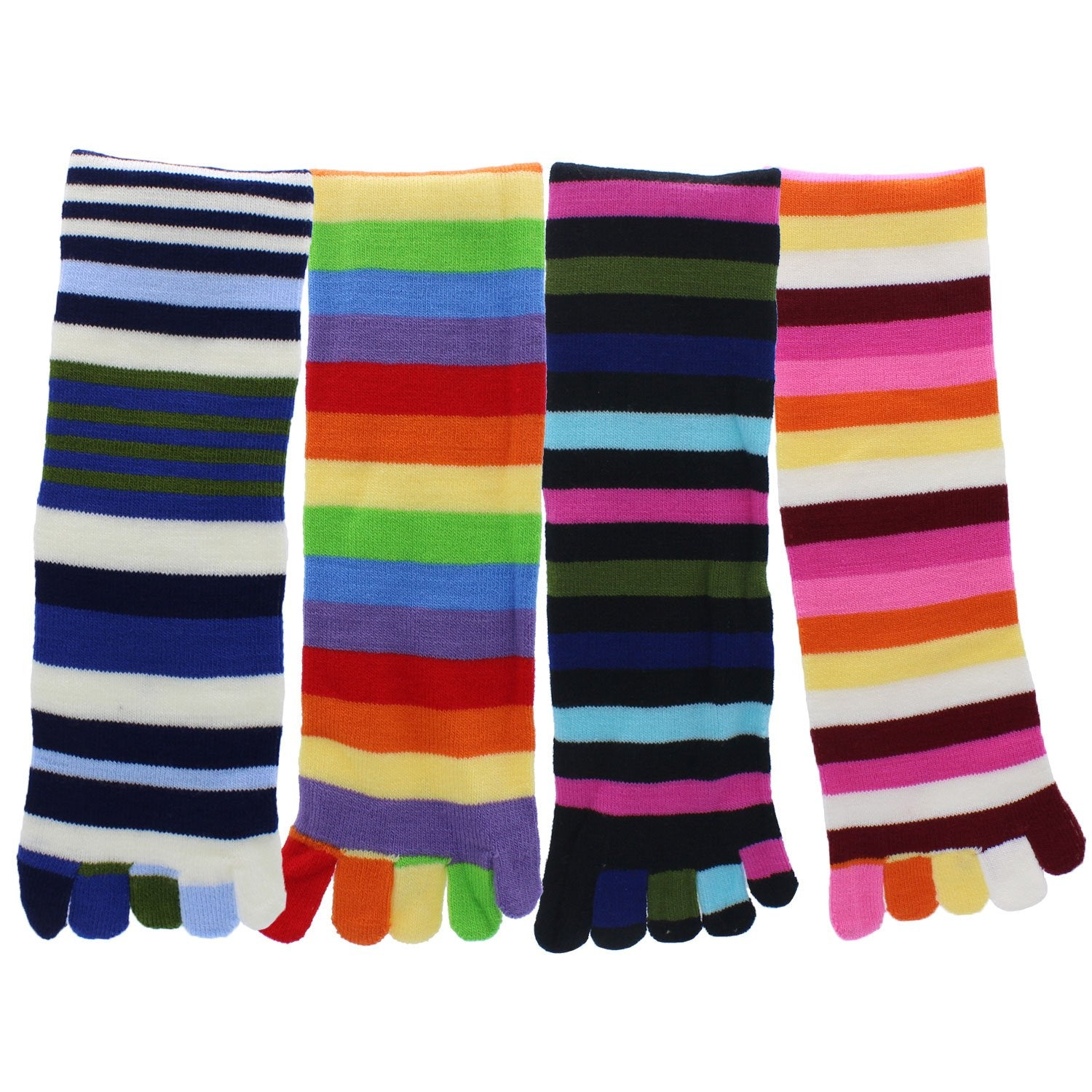 Toe Socks 4-Pack Multicolor Striped - Pack5