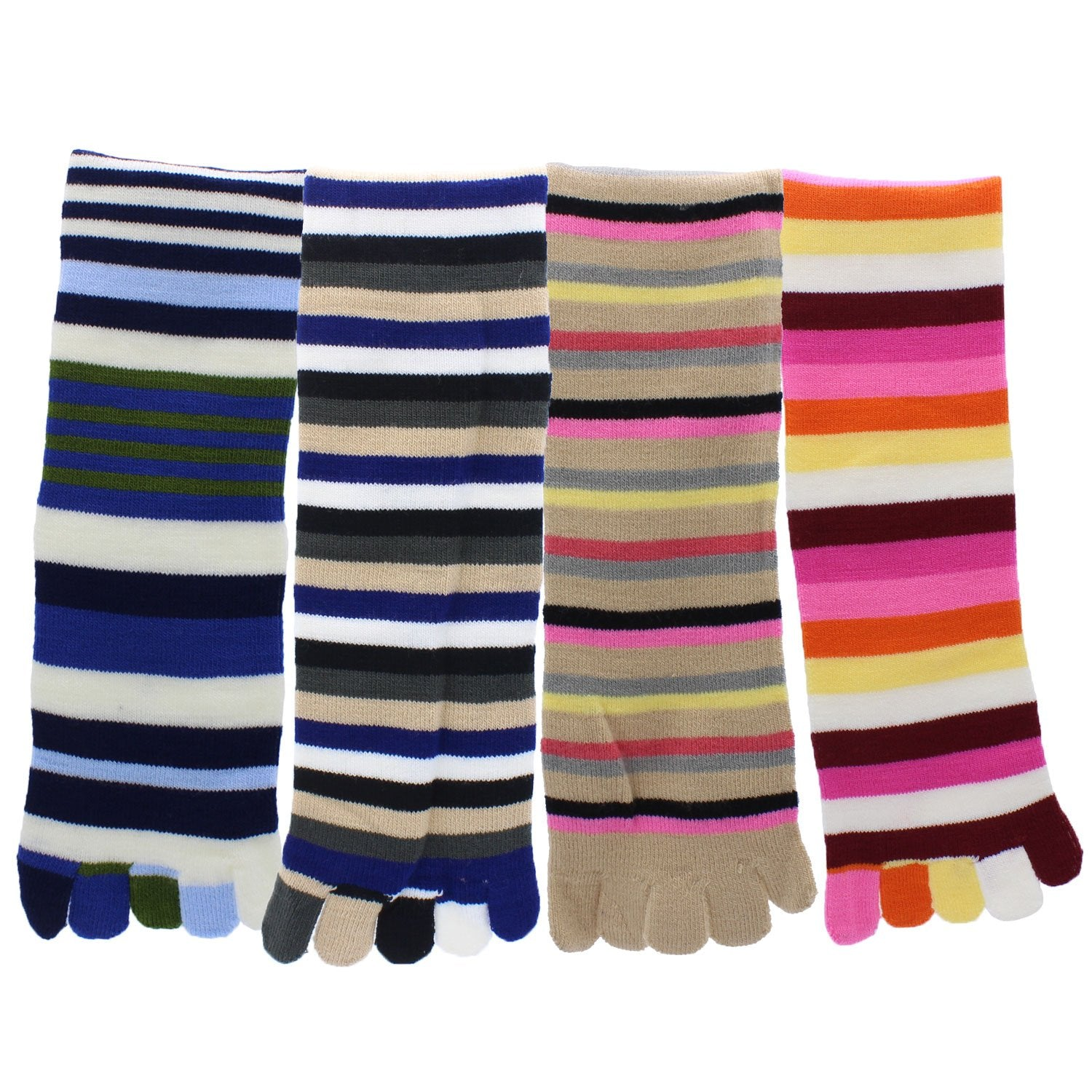 Toe Socks 4-Pack Multicolor Striped - Pack2
