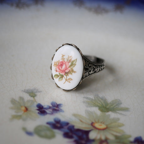 Vintage Rose Cameo Ring - Adjustable- Choose Pink Yellow or Blue Roses