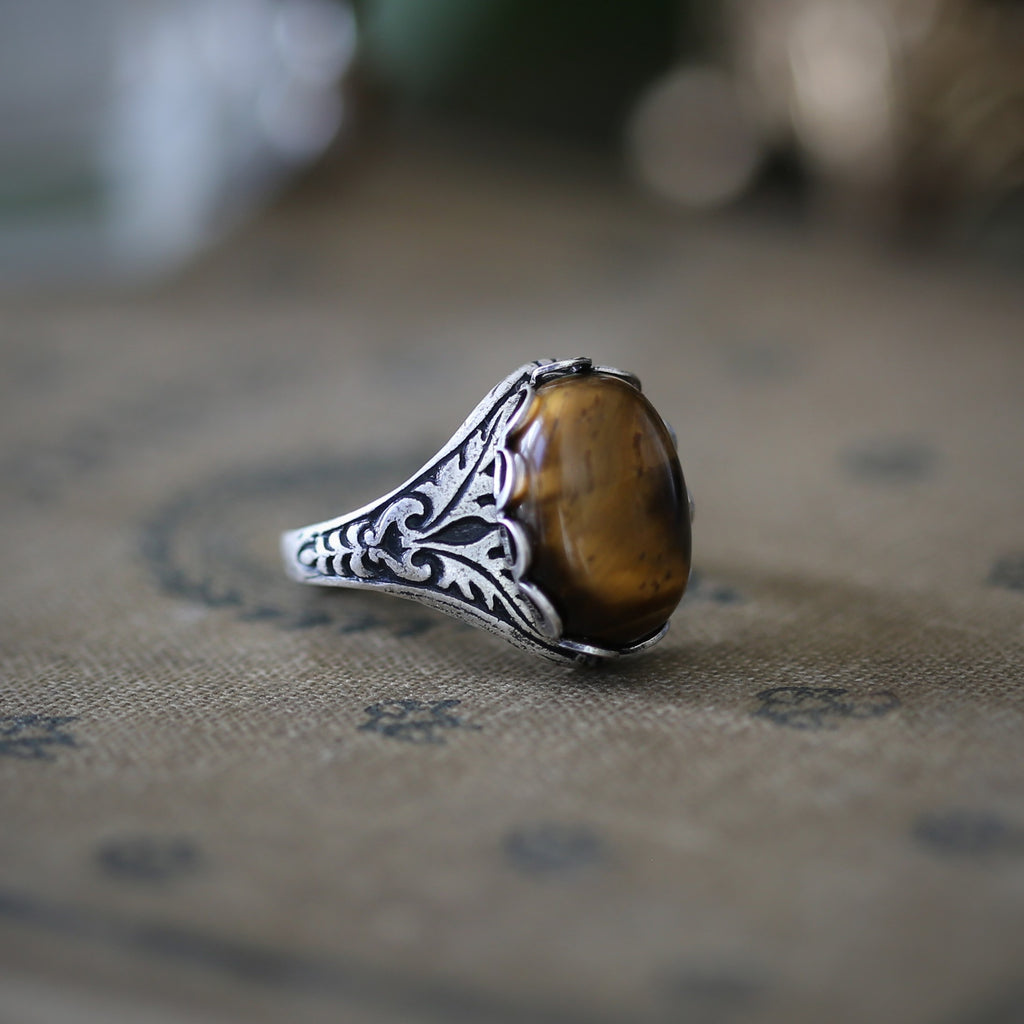Stone Ring - Tigereye, Goldstone, Carnelian or Leopardskin Jasper