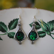 Semi-precious Stone Earrings on a Vintage Victorian Base in Antiqued Silver or Brass