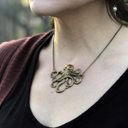 Octopus Necklace - Antiqued Silver