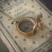 Sundial and Compass on Necklace or Pocket Chain