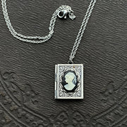 Cameo Book Locket in Antique Silver - Womens Profile
