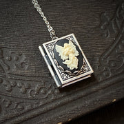 Cameo Book Locket in Antique Silver
