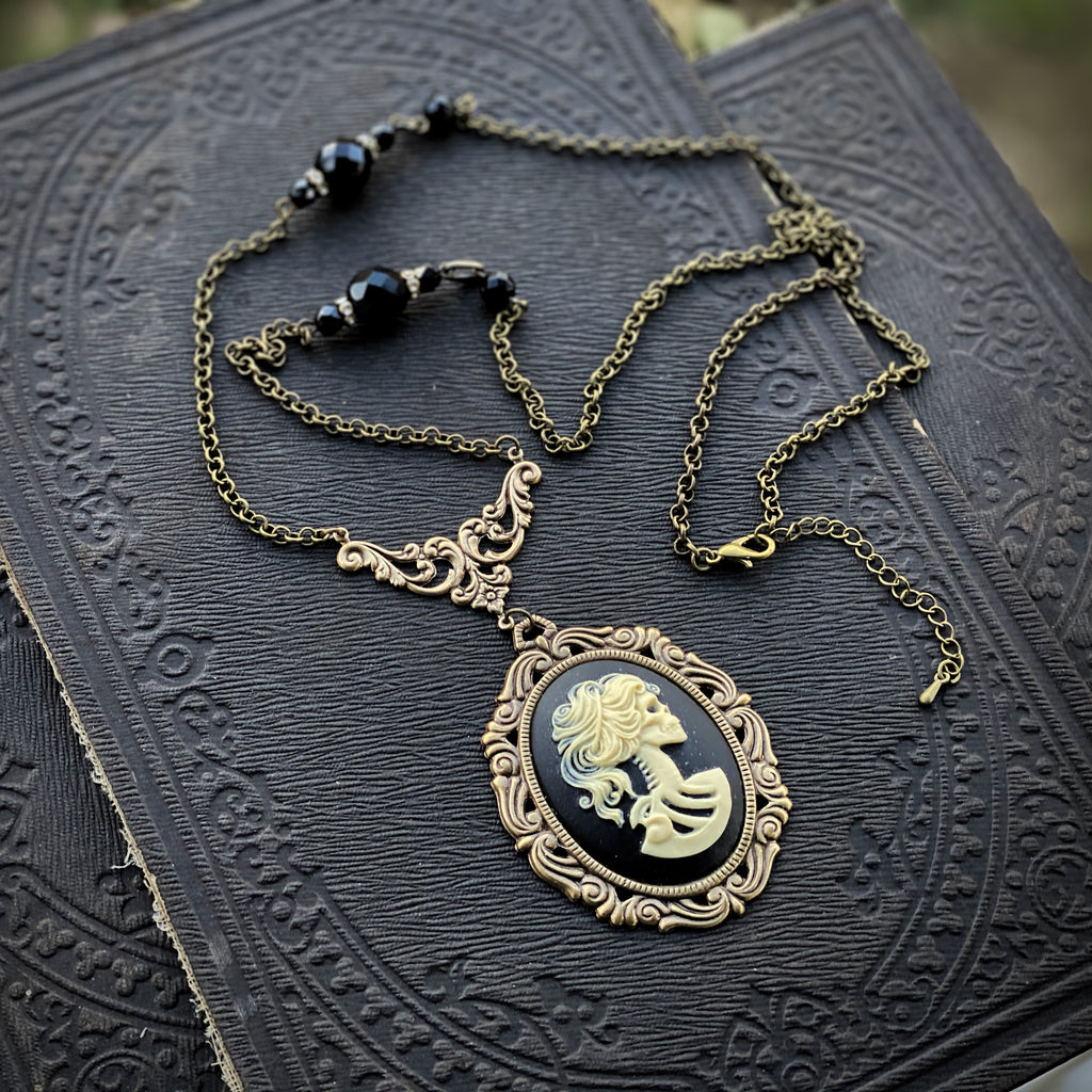 Victorian Zombie Necklace with Vintage Beads