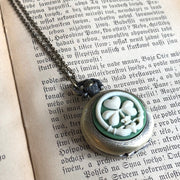 Claddagh Shamrock Pocket Watch Necklace