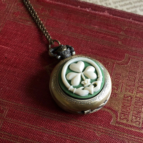 Claddagh Pocket Watch Necklace