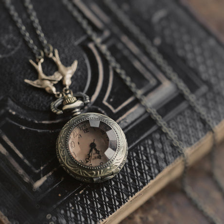 Amber Pocket Watch Necklace
