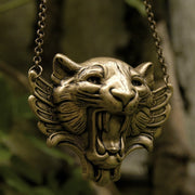 Winged Tiger Necklace In Brass