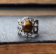 Tigers Eye Filigree Ring