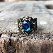 Blue Paua Shell Filigree Ring