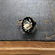 Black Rose Cameo Ring - Brass