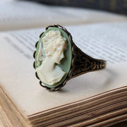 Green and White Woman Cameo Ring