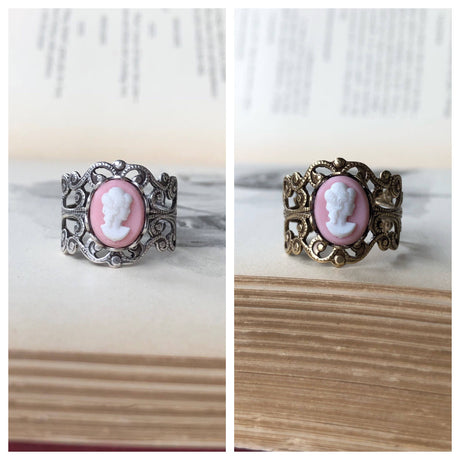 Vintage Pink Lady Cameo Ring