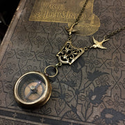 Medium Working Compass Necklace in Antique Bronze